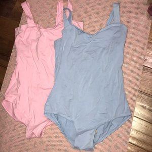 Light pink and light blue dance leotard bundle